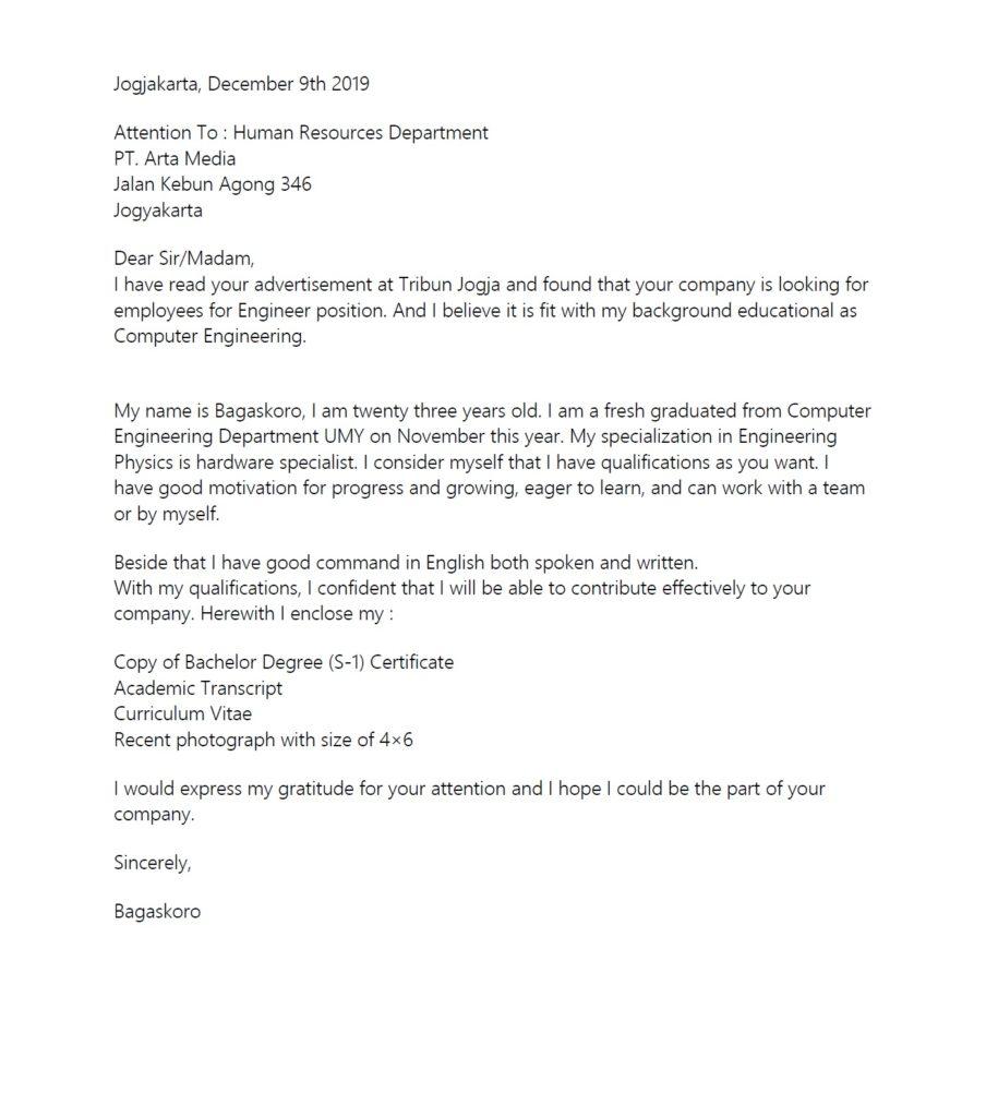 contoh surat lamaran kerja bahasa inggris tulis tangan