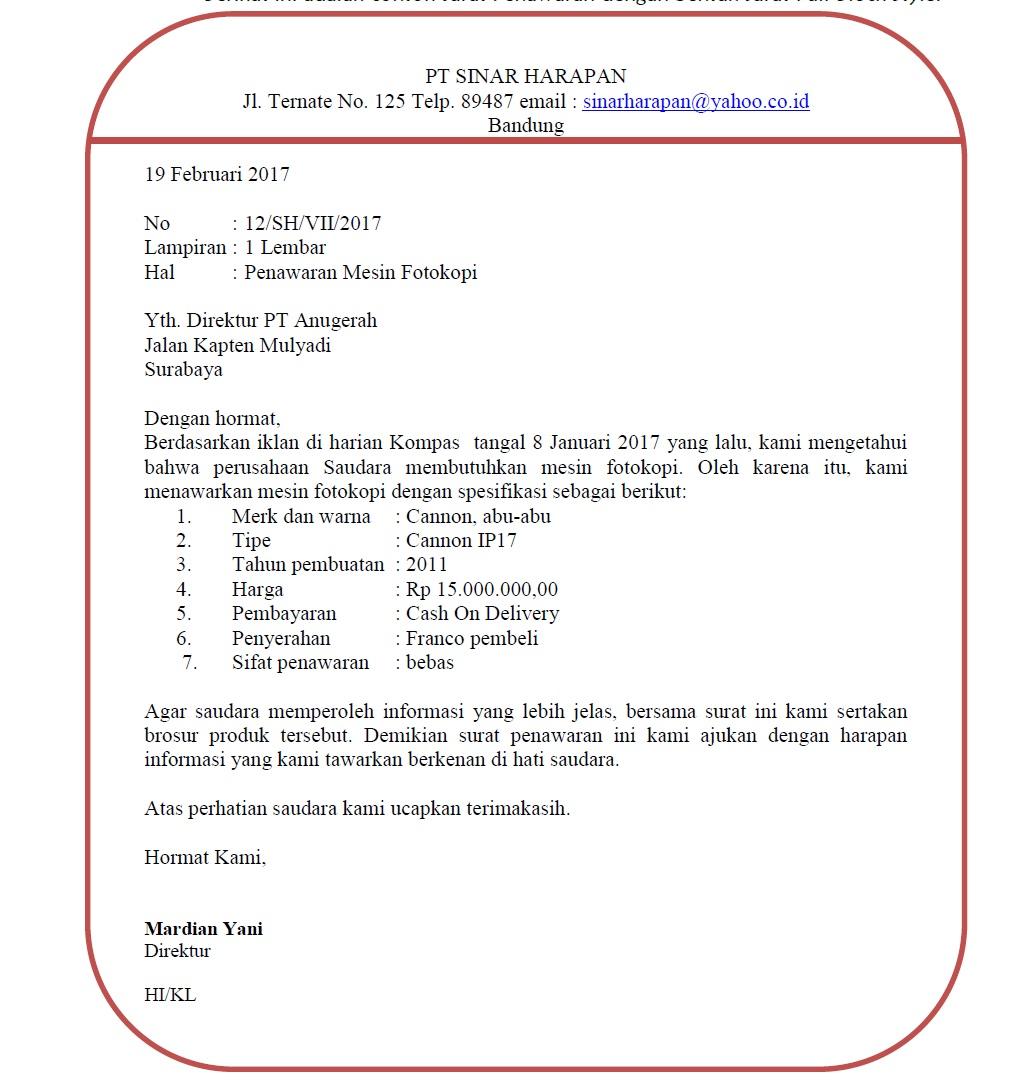 Contoh Surat Penawaran Barang Perlengkapan Kantor