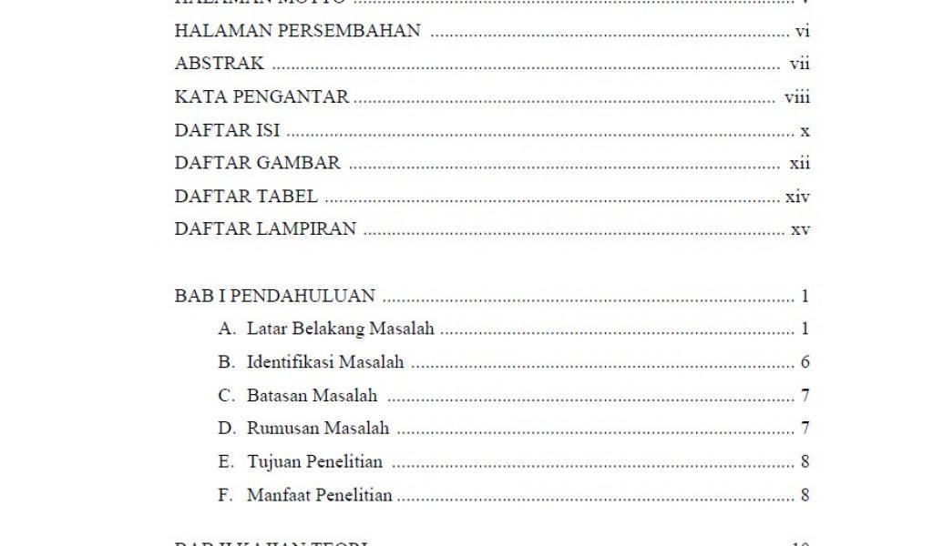 12 Contoh Daftar Isi Makalah Proposal Laporan Skripsi Dll Ruangguruku Com