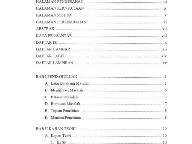 Contoh Daftar Isi Skripsi Ruangguruku Com