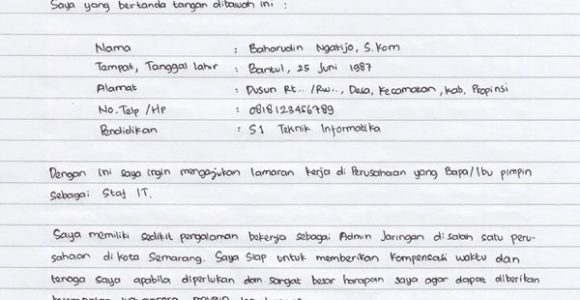 Contoh Surat Lamaran Kerja Pt Bahasa Inggris Tulis Tangan Dll Ruangguruku Com