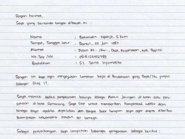 Contoh Surat Lamaran Kerja Tulis Tangan Sederhana Dan Menarik Ruangguruku Com