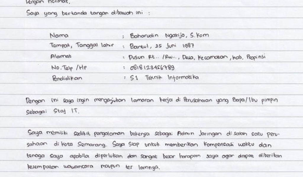 Contoh Surat Lamaran Kerja Tulis Tangan Sederhana Dan