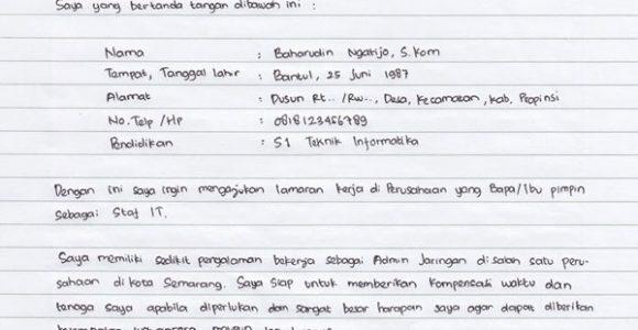 Contoh Surat Lamaran Kerja Pt Bahasa Inggris Tulis Tangan Dll